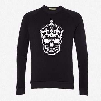 Keep Calm Skull Crown fleece crewneck sweatshirt