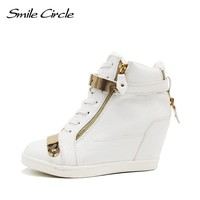 2017 Spring Autumn Style Shoes For women sneakers high top PU leather wedge Casual Shoes women high heels shoes black white