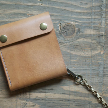 The Brando - Mens Natural Leather Biker Chain Snap Wallet