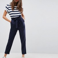 ASOS Linen Paperbag Waist Trousers with Tie at asos.com