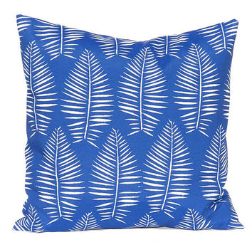 Outdoor Pillow Covers - Royal Blue Pillow Covers - Palm Leaf - Bright  - Outdoor Cushions - Patio Decor - Pool Decoration - Spring Decor