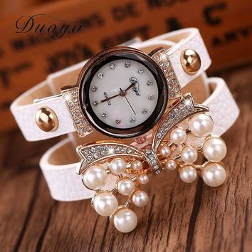 Duoya Brand Watches Women Luxury Bow Pearl Bracelet Wristwatch Women Fashion  Leather Electronics Watch XR536