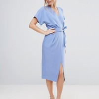Closet London Short Sleeve Tie Front Dress at asos.com