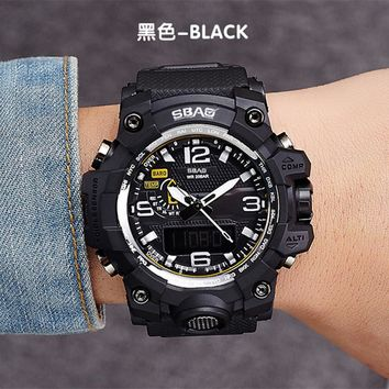 SBAO Fashion Watch LED Men Waterproof Sports Watches Shock Digital Electronic