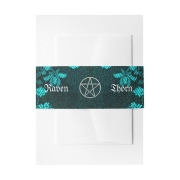 Eternal Handfasting/Wedding Pentacle Turquoise Ste Invitation Belly Band