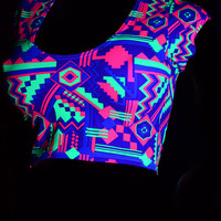 Neon Purple & Lime Geometric Aztec Print Scoop Neck Cap Sleeve Lycra Spandex Crop Top -E8089