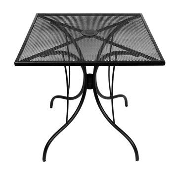 30-Inch Square Patio Dining Table in Black Metal with Umbrella Hole