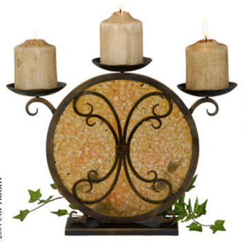 Jene's Candle Holder In Butterum Faux Rock Crystal