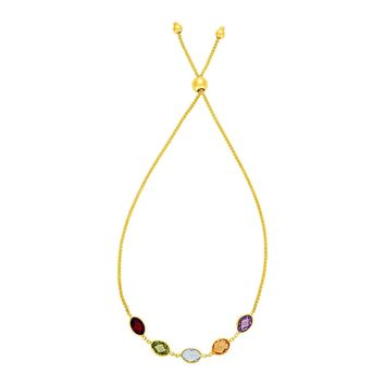 Adjustable Bracelet with Multicolored Marquise Gemstones in 14K Yellow Gold