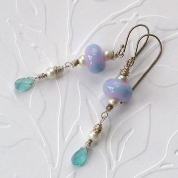 Lavender and turquoise lampwork glass beads, apatite, pearl and sterling silver pierced earrings.