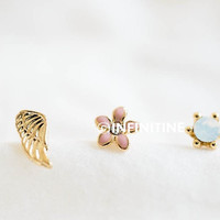 gold wing stud earrings and cartilage earrings set/stud earrings/girl earrings/men earrings