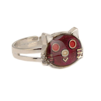 mood ring New Adjustable temperature alloy ring fashion KT  cat mood change color ring 10pcs/lot