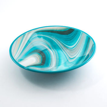 Fused Glass Bowl, Turquoise Kitchen Decor, Modern Design, Large Serving Bowl, Retro Kitchenware, Decorative Dish, Unique Handmade Gifts