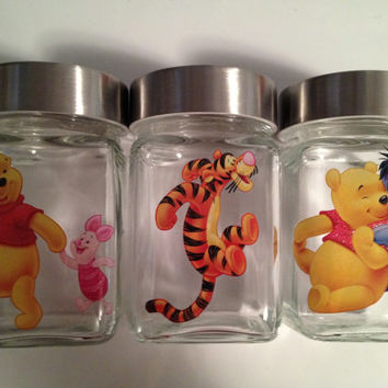 Winnie The Pooh Baby Nursery Jars Tigger Piglet Jars Baby Decor Baby Shower Apothecary Jars Gift Jar Birthday Party Candy Decor