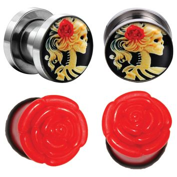 BodyJ4You 4PC Gauge Plugs Red Rose Cameo Skeleton Stainless Steel Screw Fit Ear Expander 2mm - 16mm