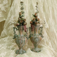 Vintage verdigris Versailles vases pair with roses French chic aged vases shabby chic small vases