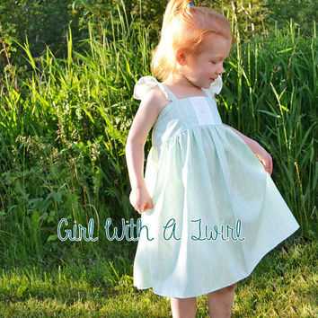 Girls Dress, Toddler Boutique Dress, Mint Dress, Summer Dress, Flutter Sleeve Dress, Simple Sun Dress, Girls Party Dress, Flower Girl Dress