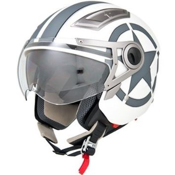DOT Approved Motorcycle Helmet 3/4 Open Face Matte White Star Retro Vintage EVOS Sport Street Bike Cruiser Scooter Snowmobile ATV Helmet - Large