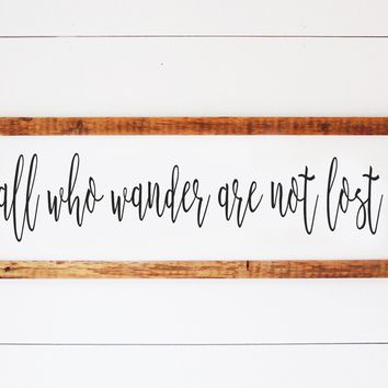 All Who Wander Are Not Lost - Handmade Reclaimed Antique Wood Framed Print - 36-in