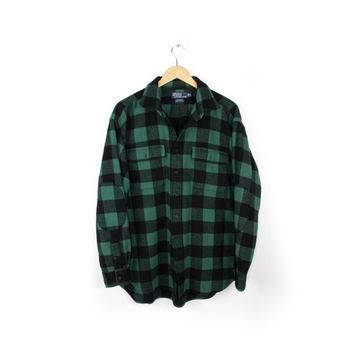 Ralph Lauren Whitfield Thick 100% Cashmere Green and Black Buffalo Plaid Flannel Shirt