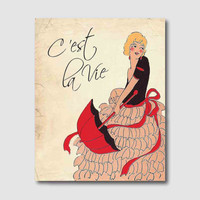 Wall Art - Tally Girl - Art Deco - C'est la Vie - Such is life - French Phrase - 8 x 10 - Parasol - Room Decor