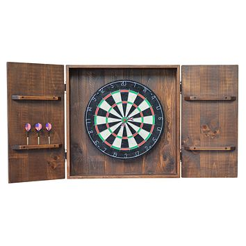 Country Rustic Wood and Iron Handcrafted Dart Board (dartboard) Wall Cabinet