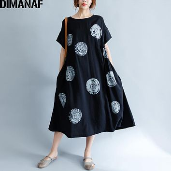 DIMANAF Women Summer Dress Big Size Cotton Linen Casual Soft Style Black Polka Dot Oversized Loose Female Sundress Clothing 2018