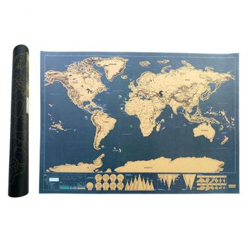 Scratch Map Of The World Travel Edition Deluxe Scratch Off Map Personalized World Map Poster Black Traveler Journal Log Gift