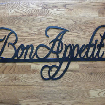 "Bon Appetit Sign Metal Wall Art Home Restaurant Decor 37"" By 14"""