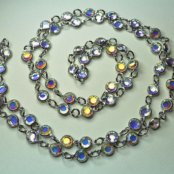 "AUSTRIAN CRYSTAL BEZEL Vintage Silver and Aurora Borealis, Super Long 44"" Necklace, Rainbow of Colors! #a735"