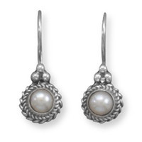 Oxidized Cultured Freshwater Pearl Earrings with Rope Edge