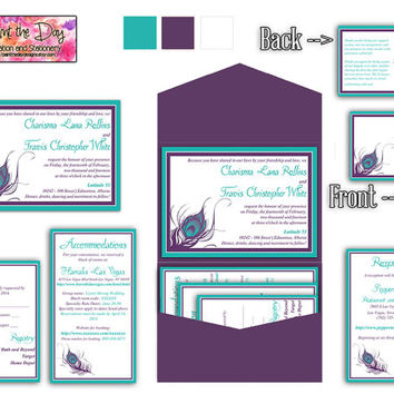 Peacock Feather 5x7 Wedding Pocketfold Microsoft Word Template | Turquoise Blue Plum Purple | Invitation, RSVP, 2 Inserts, Thank You Card