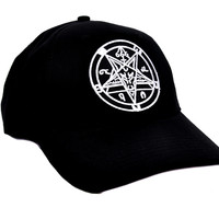 Sabbatic Goat Head Baphomet Inverted Pentagram Hat Baseball Cap Occult Metal Clothing