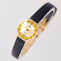Small quartz women's watch Glory. Gold plated lady watch small. Girl's watch yellow face. Romantic watch lady gift . Premium leather strap