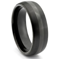6MM Tungsten Carbide Black _ Wedding Band Ring (Available Sizes 4-11 Including Half Sizes)