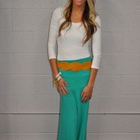 Teal Long Maxi Skirt - Modern Vintage Boutique
