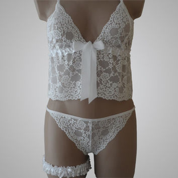 Wedding Night Cami & Panty Set - White Lace - Handmade