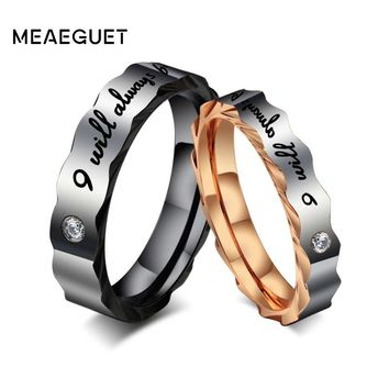 Meaeguet Lovers Ring His and Hers Stainless Steel 'I Will Always Be with You' Couples Promise Rings Engagement Wedding Bands
