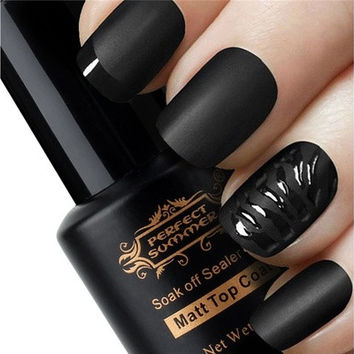 Perfect Summer 8ml UV Soak Off Magic Super Matte Top Coat Professional Transfiguration Nail Art Frosted Surface Oil Sealer Gel (Color: Transparent) [9302529610]
