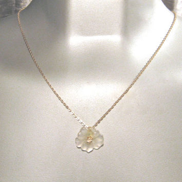 Vintage AVON Necklace Flower Pendant Necklace 1970s White Lucite Necklace with Clear Rhinestone, Avon Jewelry, Accessory Woman, Flower Girl