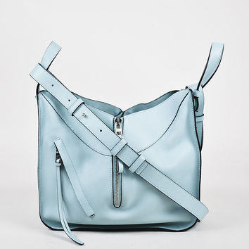 "Loewe Baby Blue Leather Zip Small ""Hammock"" Crossbody Bag,shoulder bag stylish Soft"