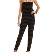Glitter Striped Strapless Jumpsuit by Charlotte Russe