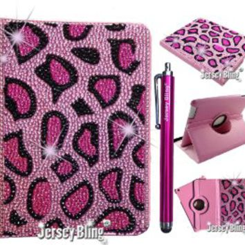 "Jersey Bling Kindle Fire HD 7"" CHEETAH Crystal and Rhinestone Leather Rotating Case with Built-In Stand, FREE Stylus Included"