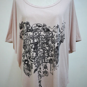 The Beauty Of Paper Doll : Necklace Jewelry Flower Fashion Bat Sleeve Women TShirt Nude Color TShirt Screen Print Cotton