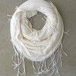 Loop and Fringe Scarf in Ivory [4418] - $21.00 : Vintage Inspired Clothing & Affordable Summer Frocks, deloom | Modern. Vintage. Crafted.