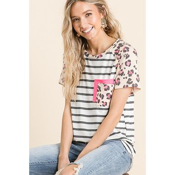 Leopard and Striped Double Front Pocket Top