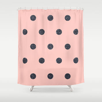 Black Polka Dots on Pink Shower Curtain by Cafelab