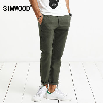 Spring Summer New Harem Pants Men 100% Pure Linen Ankle-Length Casual Thin Drawstring Trousers Vintage
