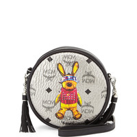Rabbit Tambourine Round Crossbody Bag, Silver - MCM