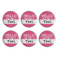 Tori Hello My Name Is Plastic Resin Button Set of 6